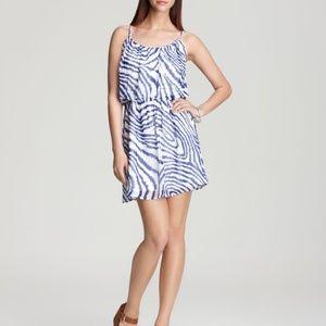 Aqua Blue/White Chiffon CinchWaist Dress